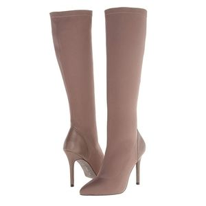 Charles David Taupe Pointed Toe Stretch Boots 7.5